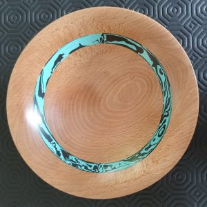 Beech Bowl with Coloured Ring