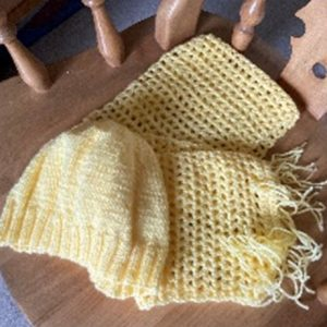 Pale Yellow Hat & Scarf