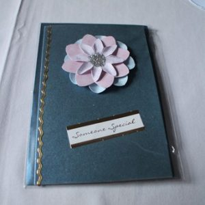 Teal Card with Pink and Blue Flower