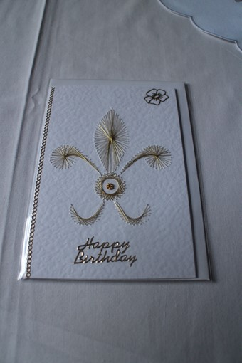 Hand Sewn Prince of Wales Feathers Birthday Card
