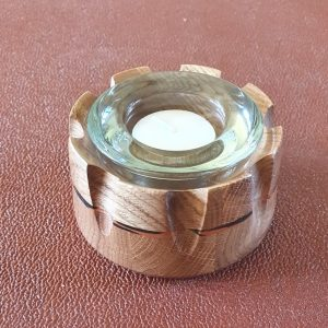 Fluted Tea Light with Coloured Ring